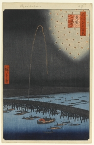 """Fireworks at Ryogoku (Ryogoku Hanabi),"" from "" One Hundred Famous Views of Edo"" by Utagawa Hiroshige, courtesy the Brooklyn Museum"