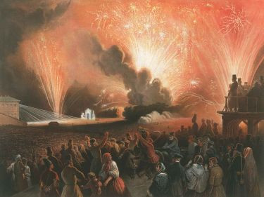 """Coronation of Alexander II, Moscow, September 17, 1856: Fireworks Display before the Cadets' Building, ""(1856), by Henri Pierre Léon Pharamond Blanchard, courtesy the Metropolitan Museum of Art"