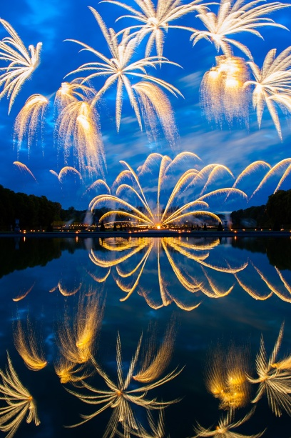 Fireworks illuminate the gardens of Château Vaux-le-Vicomte, Maincy, France. Photograph by Diane Cook and Len Jenshel, National Geographic