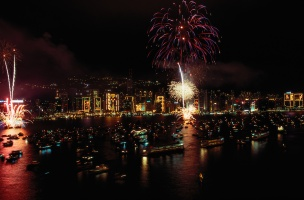 Fireworks above Victoria Harbour are part of the celebration of Chinese New Year in Hong Kong. Photograph by Jodi Cobb, National Geographic