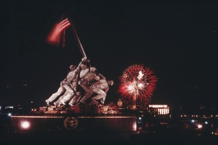 The U.S. Marine Corps War Memorial frames fireworks during the 1973 Independence Day celebrations in Washington, D.C. Photograph by Joseph H. Bailey, National Geographic