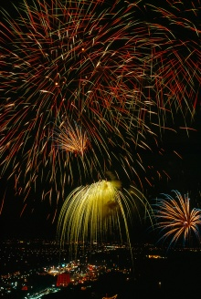 Fireworks erupt in Tehran, honoring of the coronation of the last Shah of Iran. Photograph by Winfield Parks, National Geographic