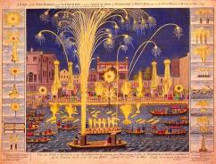 """""""Royal Fire-workes and Illuminations in Whitehall and on the River Thames on Monday 15 May 1749,"""""""