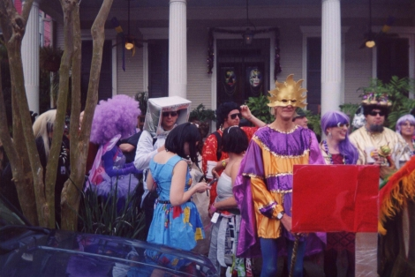 The neighborhood Krewe of St. Anne celebrate Mardi Gras 2005. Photograph by Infrogmation, courtesy Wikimedia. CC-BY-SA-2.5