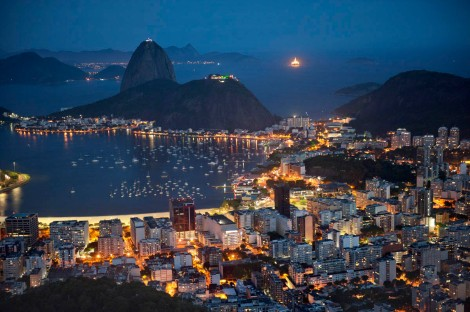 Brazil celebrates geography, and geography celebrates Brazil, as demonstrated in this gorgeous nighttime shot of Botafogo Bay, Rio. Photograph by David Alan Harvey, National Geographic