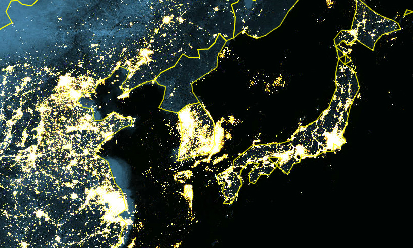 North Korea Goes Dark – National Geographic Education Blog on seoul korea at night, map of south north korean peninsula night, map of us at night, earth from satellite at night, texas satellite at night, map of south korea night, aerial view of north korea at night,