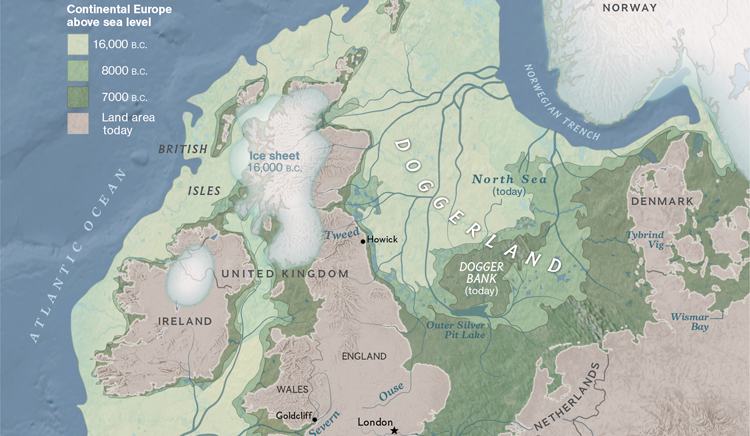 A map showing Doggerland, a region of northwest Europe home to Mesolithic people before sea level rose to inundate this area and create the Europe we are familiar with today.