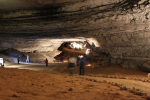 Visitors tour Mammoth Cave National Park, the largest cave system in the United States, in Kentucky. Photograph by Pratik Mallick