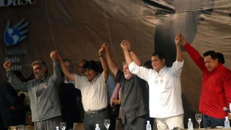 Hugo Chavez, right, stands united with fellow South American leaders Fernando Lugo  (Paraguay), Evo Morales (Bolivia), Luiz Inacio Lula da Silva (Brazil), and Rafael Correa (Ecuador). Photograph courtesy Agencia Brasil