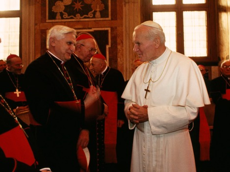 Pope John Paul II (right), meets the man who will eventually succeed him, German Cardinal John Ratzinger, in 1994. Ratzinger was elected pope in 2005, and chose the name Benedict XVI. Pope Benedict resigned, and a new college of cardinals is meeting to elect his successor. Photograph by James L. Stanfield