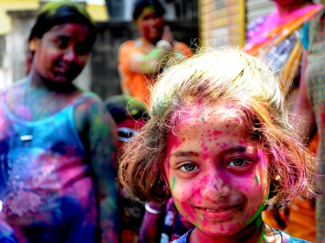 Holi is a springtime festival celebrated mostly in Northern India. Photograph by Nilanjan Basu