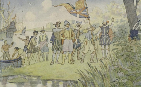 "British explorer John Smith (hands on hips) landed near what is today Jamestown, Virginia, in 1607. Just two years later, the Virginia Colony (based at Jamestown) endured a desperate period of conflict, starvation . . . and cannibalism. Smith, injured during a conflict with indigenous Powhatans, had already left Jamestown when the ""Starving Time"" began in 1609. Illustration by E. Boyd Smith, courtesy New York Public Library"