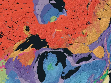 Download this huge, beautiful, USGS map of all of North America's bedrock formations here. How did I estimate the location of Timmins, Ontario, Canada? By using our MapMaker Interactive, of course! Map by Kate E. Barton, David G. Howell, José F. Vigil, USGS