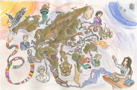 """The World in Books"" by Andrea Rotaru-Barac from Manchester, Connecticut age 16. Because of a mix up in the competition rules over the maximum age of the cartographer, Andrea's map was not able to move on to the finals. We are pleased to be able to highlight her creativity here. Andrea did receive a prize from the National Geographic Society for her beautiful map."
