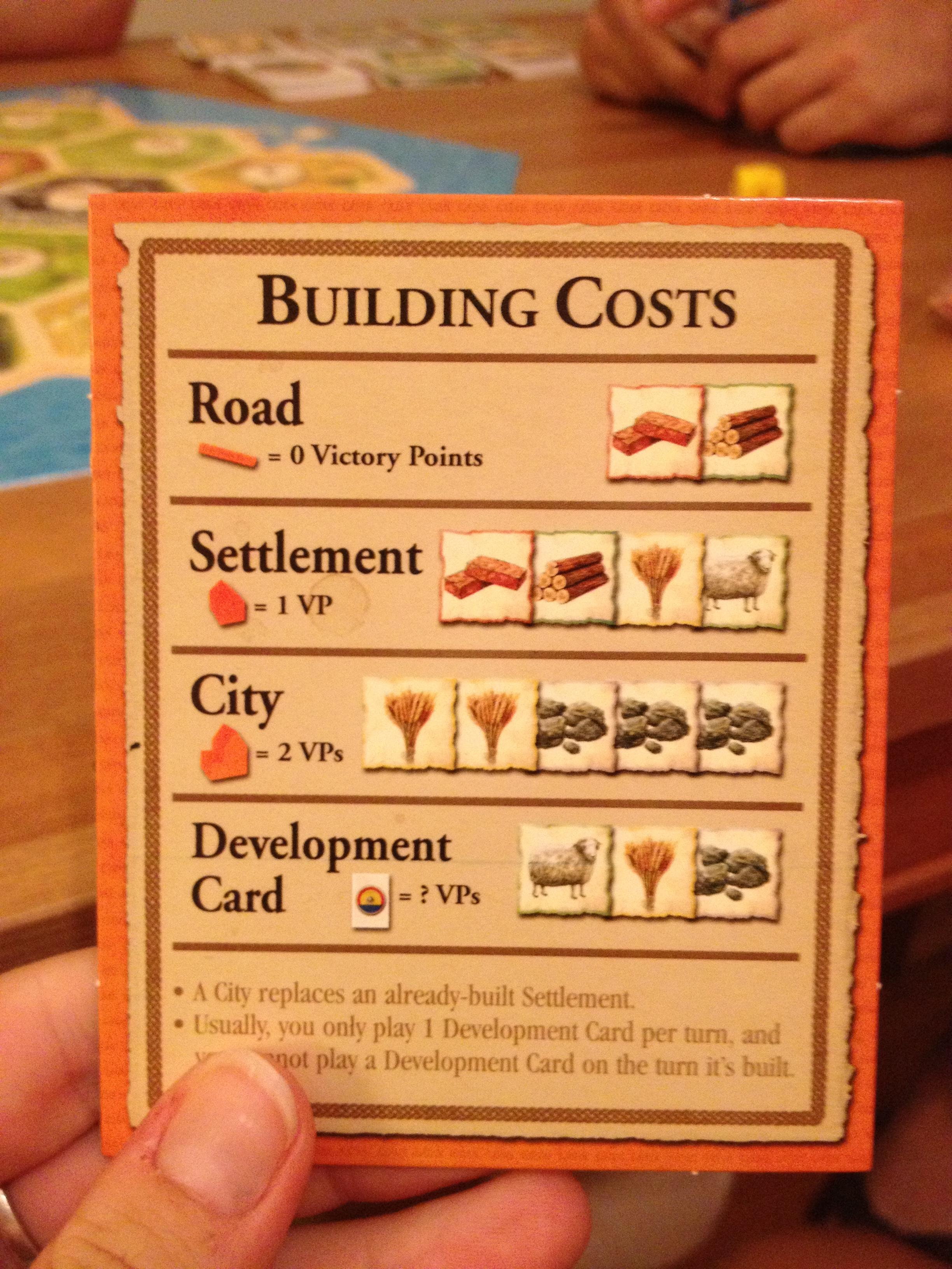 Catan Building Costs