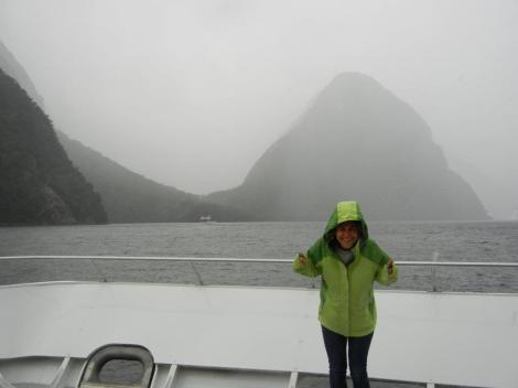 Enjoying the elements at the Milford Sound.  Photograph by Amelia Tidona.