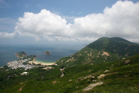Shek O Beach, Hong Kong from above on a sunny day, 2013 (Photograph by Laurel Chor)