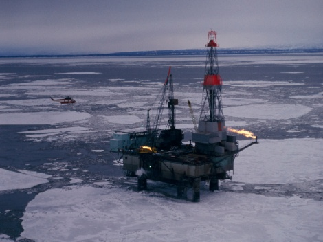 A new Russian plan may use nuclear energy to explore oil and gas resources in the Russian Arctic. This platform, off the coast of Alaska, uses diesel fuel to explore oil and gas resources in the American Arctic. Photograph by Thomas J. Abercrombie, National Geographic