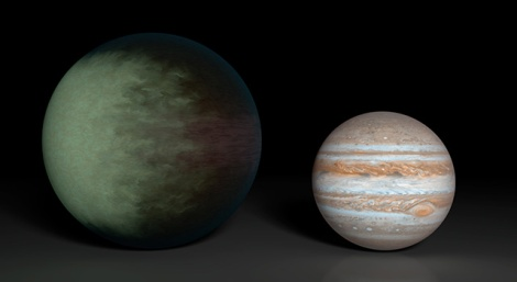 "Planets like Kepler-7b (left) are nicknamed ""hot Jupiters"" because they share characteristics with the largest planet in our solar system (right), but have a much higher surface temperature. Kepler-7b's temperature is about 1,800 degrees Fahrenheit (1,300 Kelvin). Jupiter's temperature is about -234 degrees Fahrenheit (125 Kelvin). Image courtesy NASA/JPL-Caltech/MIT"