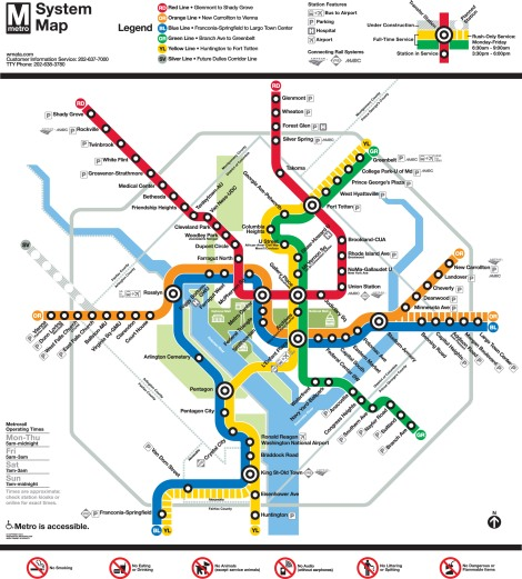 My favorite metro map! Map courtesy the good folks at the Washington Metropolitan Area Transit Authority