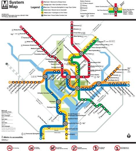 My favorite metro map! Map courtesy the good folks at the Washington Metropolitan Area Transit Authority