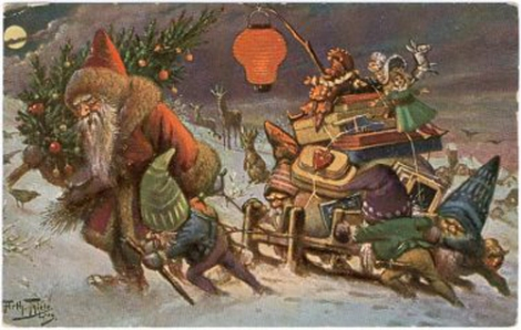 This hardworking Father Christmas from an early 20th-century German postcard is a decent representation of the dour Weihnachtsmann character a German museum is seeking to protect. Illustration by Julius Thiele, courtesy Santa Claus Preis