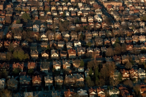 An aerial view of a residential neighborhood in Charleston, WV. Photograph by Jodi Cobb.