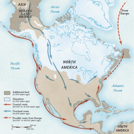 "The blue arrows on this map show the icy land bridge spanning ""Beringia,"" where populations from Asia migrated more than 14,000 years ago. Recent genetic analysis of the remains of a member of the 12,500-year-old Clovis culture revealed markers shared with Beringian populations in Siberia, as well as Native American populations such as the Maya. Map by National Geographic"