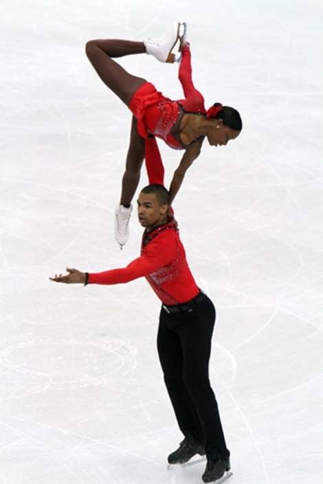 Figure skaters need excellent flexibility, strength, endurance, and body composition. And good balance . . .  Photograph by David W. Carmichael, courtesy Wikimedia. This file is licensed under the Creative Commons Attribution-Share Alike 3.0 Unported license.