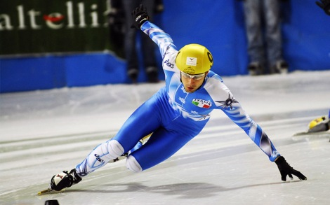Have you ever taken a look at speed skaters? You could crush walnuts with those thighs. Short-track speed skating (above) requires a little more flexibility, while speed skating is brute cardio and muscular endurance. Photograph by Maganetti Cristian, courtesy Wikimedia. This file is licensed under the Creative Commons Attribution 2.5 Italy license.