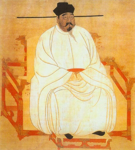 This hanging silk scroll depicts Zhao Kuangyin, a military leader who became Emperor Taizu, founder of China's legendary Song Dynasty. Image courtesy National Palace Museum, Taipei, and Wikimedia