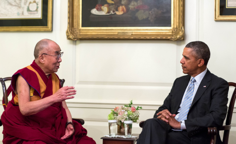 President Barack Obama mets with the Dalai Lama in the Map Room of the White House on February 21, 2014.  Official White House Photo by Pete Souza