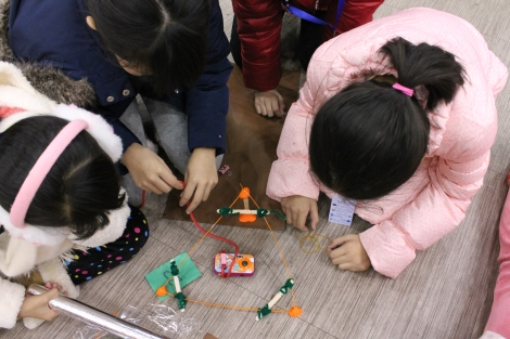 Chinese students build their remote camera system during the Destination Imagination event in Beijing, China.  Photograph by Samantha Zuhlke, National Geographic Education