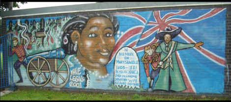 Graffiti mural in Bluetown, Wales, depicting the life of Mary Seacole. Photograph courtesy Dafydd Tomos.