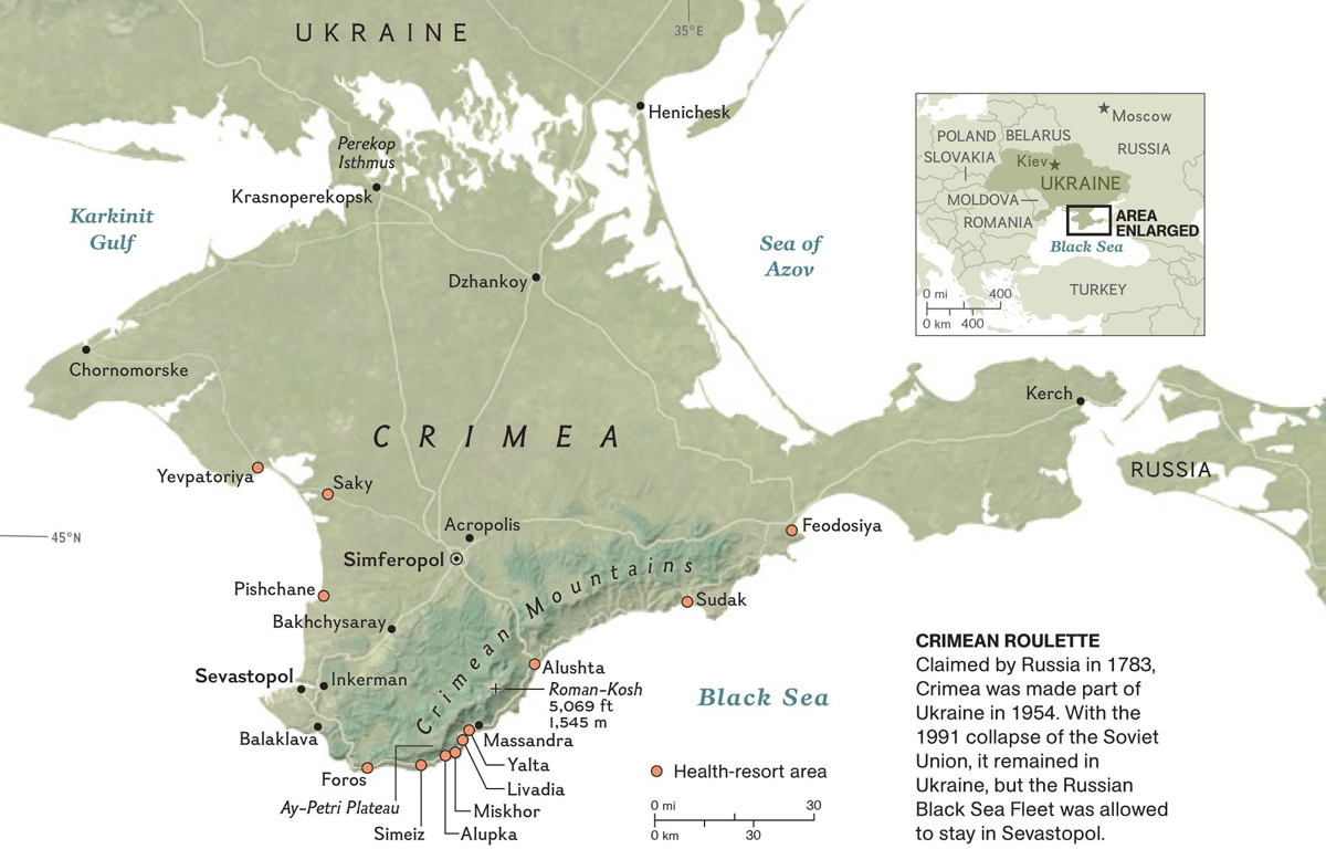 History of Crimea in Six Maps – National Geographic ... on jenne africa on world map, siam on world map, anatolia on world map, el alamein on world map, kilwa on world map, cascade mountain range on world map, world war 1 british blockade map, balkan powder keg map, kola peninsula on world map, dalmatia on world map, yucatan peninsula on world map, iberian peninsula on world map, batavia on world map, canton china on world map, crimea naval ports map, sevastopol crimea map, north africa on world map, elba world map, rift valley on world map,