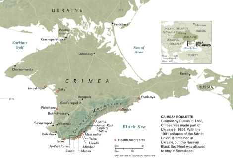 Crimea is an autonomous region in Ukraine. The Crimean population has shown much stronger support for Russia than Ukrainians in Kiev and the West. Map by Jerome Cookson, National Geographic