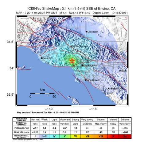"The USGS makes som pretty maps, don't they? The St. Patrick's Day ""Shamrock Shake"" jolted the Southern California coast just north of Encino, colored green on this lovely map. The red lines are, of course, California's jigsaw of (geologic) faults. The famous San Andreas fault is the long diagonal just south of Lancaster. Map by USGS"