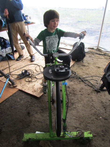 Four year-old Ian Plymale generates some energy at BioBlitz. Photograph by Stuart Thornton, National Geographic