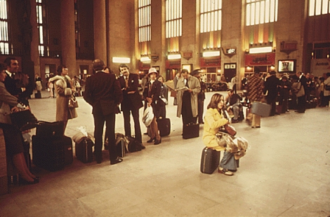 These people have been waiting to board since 1974. Kidding! These Amtrak passengers are waiting at the busy 30th Street Station in Philadelphia. Nothing much but the fashions have changed. Photo by the Environmental Protection Agency, courtesy the National Archives