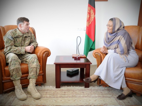 Habiba Sarabi, the first woman vice-presidential candidate in Afghanistan's history, was formerly a governor of the Bamyan province. Here, she meets with U.S. Army Lt. Gen. William B. Caldwell, the NATO Training Mission-Afghanistan commander, in 2011. Photograph by U.S. Air Force photo by Senior Airman Katie Justen