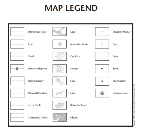 Map Legend from the U.S. State Tabletop MapMaker Kits