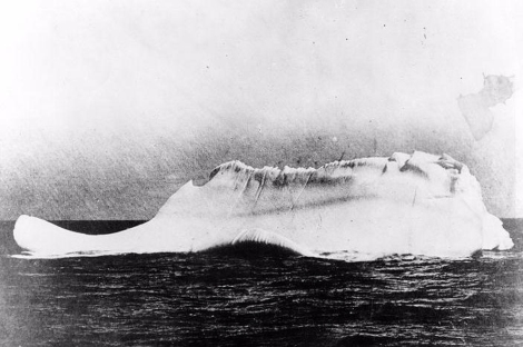 The culprit. This iceberg, with a tantalizing trail of red paint on its face, was reportedly the only iceberg at the scene of the Titanic disaster.  Photograph by Capt. William de Carteret, courtesy U.S. Coast Guard