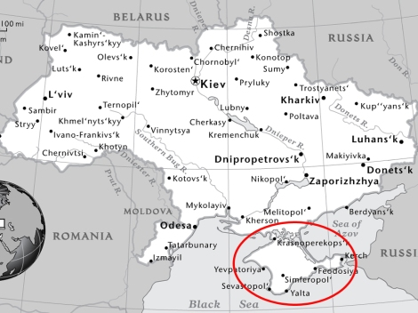 We circled the Crimean Peninsula, a disputed territory in Ukraine. Russia has annexed the territory, and National Geographic is updating its maps to reflect that. Map by National Geographic Maps