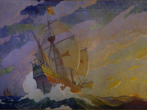 Columbus left Spain with three ships, depicted in this spectacular oil painting by N.C. Wyeth: the Nina, the Pinta, and the Santa Maria. He returned with two. A night of hard partying off the coast of what is now Haiti left no sailors awake enough to steer the Santa Maria, the expedition's largest ship. It crashed on a reef and sank. Now, American archaeologists may have discovered the shipwreck. Painting by N.C. Wyeth, National Geographic