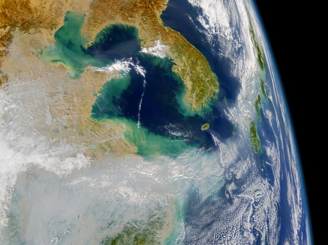 In this typically spectacular image from the good folks at NASA, we can see how wind carries particles across the East China Sea, below the Korean Peninsula, and northward toward the islands of Japan. The particles in this image are air pollution from industrial and agricultural activities. Recent research has also revealed these wind patterns carry the pathogen for Kawasaki disease, a heart condition often striking children. Image courtesy the SeaWiFS Project, NASA/Goddard Space Flight Center, and ORBIMAGE