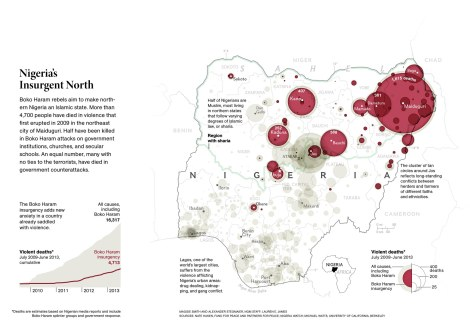 "Boko Haram, an organization President Barack Obama calls ""one of the worst regional or local terrorist organizations"" in the world, aims to make northern Nigeria an Islamist state. Map by Maggie Smith, National Geographic"