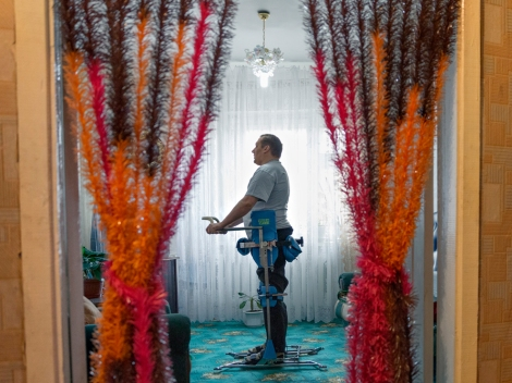 A paraplegic in Lopcha, Russia, performs rehabilitation therapy. Photograph by William Daniels, National Geographic