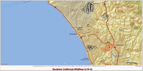 Map courtesy California Fire News