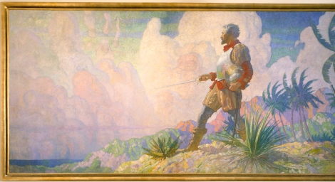 "This is part of a painting titled ""The Discoverer,"" which hangs in Hubbard Hall at National Geographic in Washington, D.C. It is one of three paintings in a series called ""The Romance of Discovery By Land, Air, and Sea."" This paining depicts explorers discovering a new land. Painting by N.C. Wyeth, Photograph by Victor R. Boswell, Jr., National Geographic Creative"