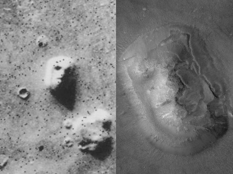 There's the Face on Mars, of course, although it doesn't look as familiar in higher resolution. Photographs by NASA/JPL
